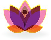 Lotus purple flower icon vector