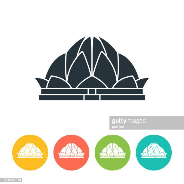 Lotus Temple flat icon - color illustration