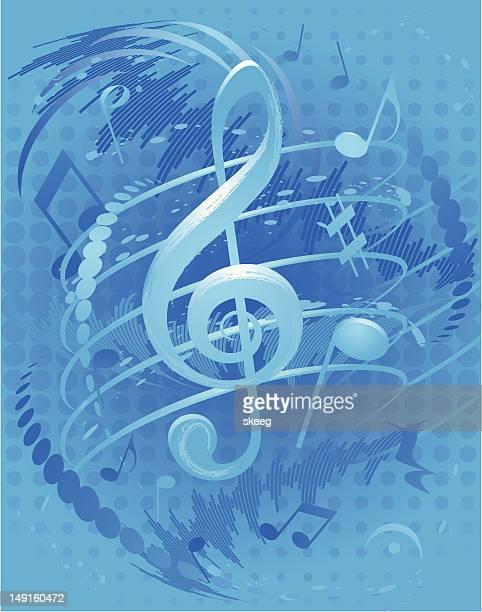 ilustraciones, imágenes clip art, dibujos animados e iconos de stock de vivos blue música - treble clef