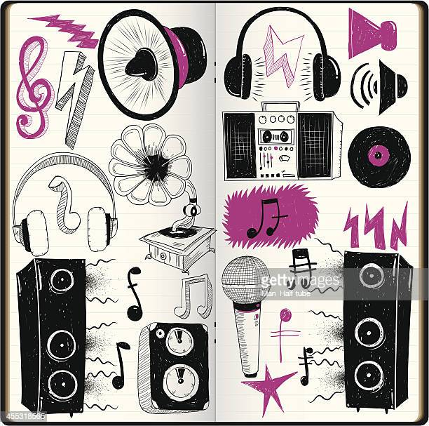 loud doodles - hip hop music stock illustrations
