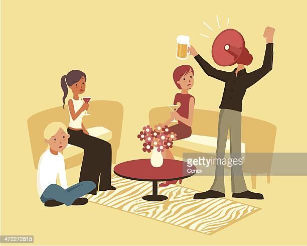Laut aufdringliche, unangenehme Person auf einer Party