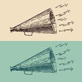 loudspeaker engraving style, hand drawn vector megaphone