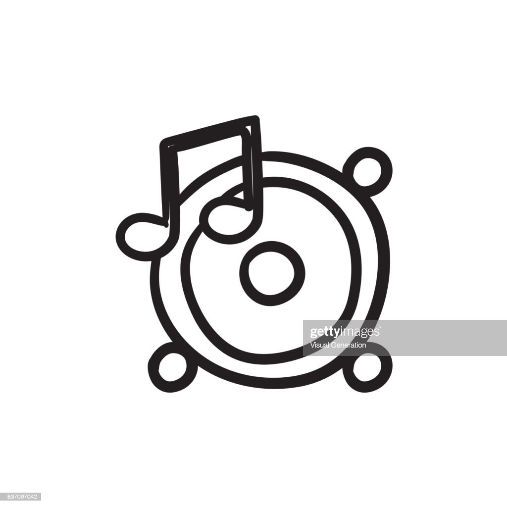 Loudspeakers With Music Note Sketch Icon Vector Art Getty Images