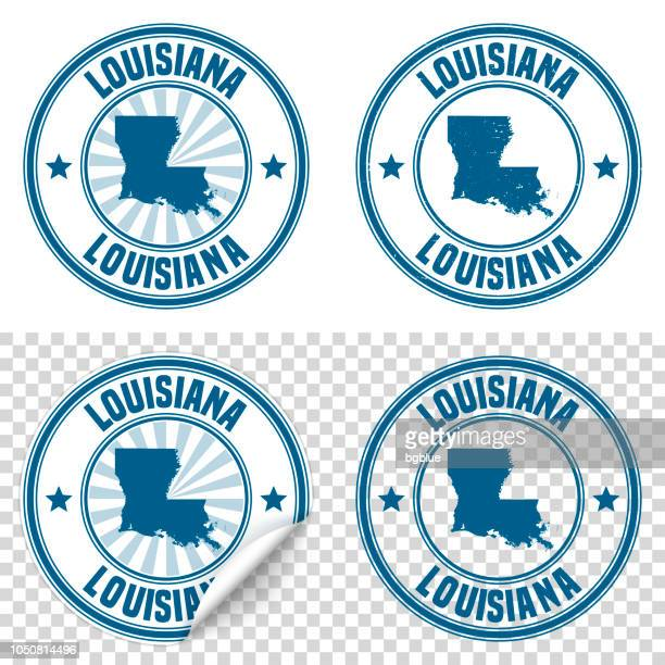 louisiana - blue sticker and stamp with name and map - louisiana stock illustrations, clip art, cartoons, & icons