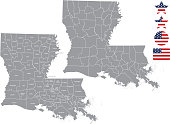 Louisiana county map vector outline in gray background. Louisiana state of USA map with counties names labeled and United States flag vector illustration designs