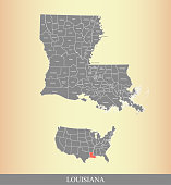 Louisiana county map vector outline printable file-USA country map background