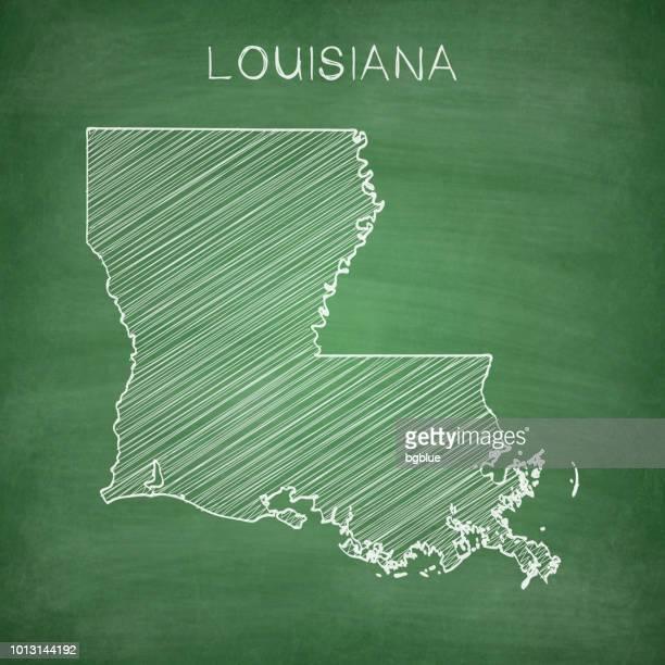 louisiana map drawn on chalkboard - blackboard - louisiana stock illustrations, clip art, cartoons, & icons