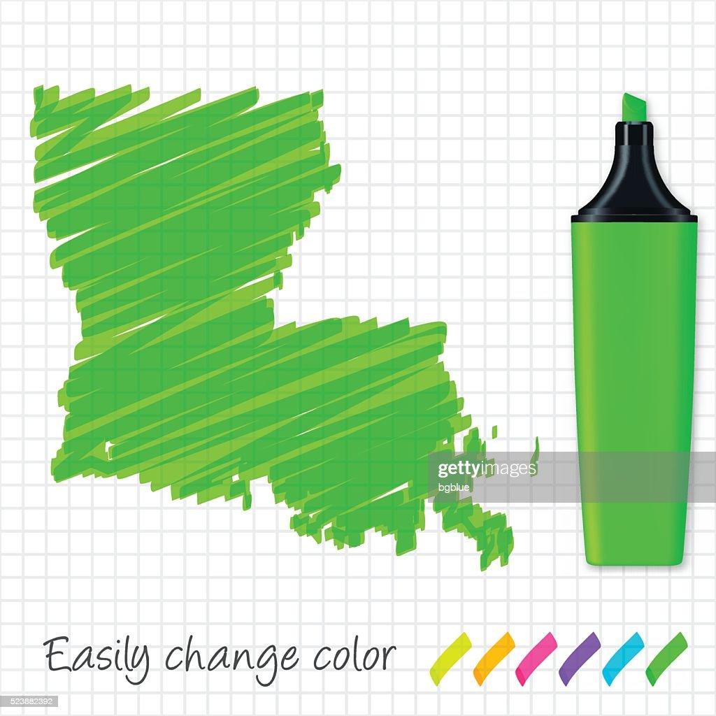 Louisiana Map Hand Drawn On Grid Paper Green Highlighter Vector Art