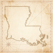 Louisiana map in retro vintage style - old textured paper