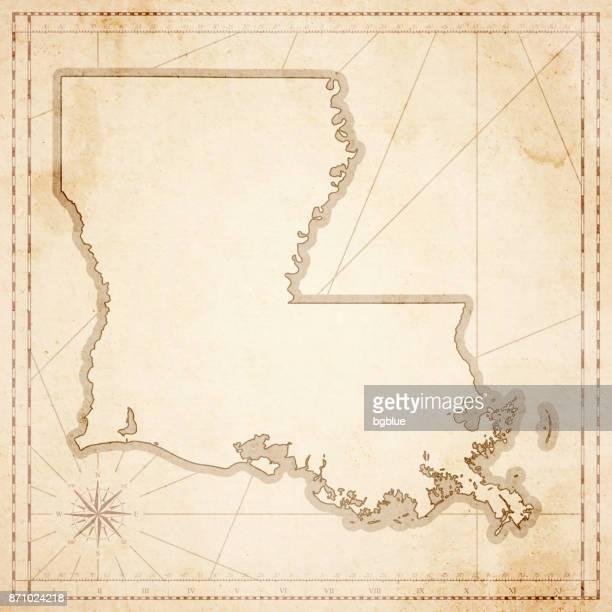 louisiana map in retro vintage style - old textured paper - louisiana stock illustrations, clip art, cartoons, & icons