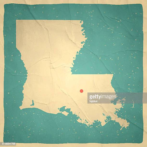louisiana map on old paper - vintage texture - baton rouge stock illustrations