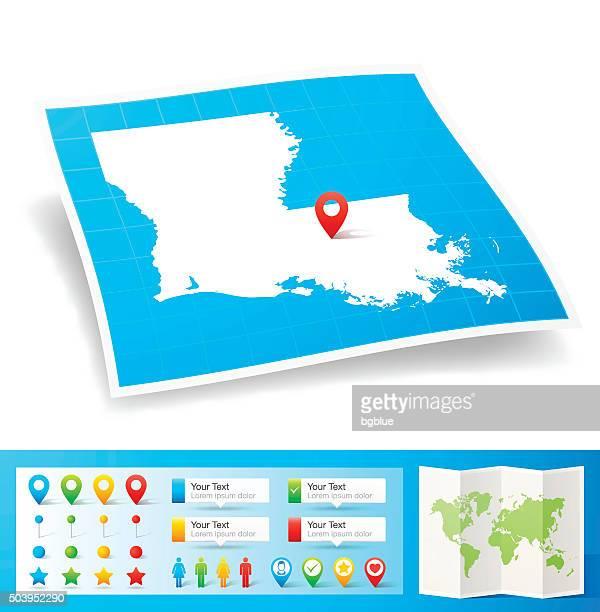 ilustraciones, imágenes clip art, dibujos animados e iconos de stock de mapa de louisiana, con pasadores de ubicación aislado sobre fondo blanco - estados de la costa del golfo