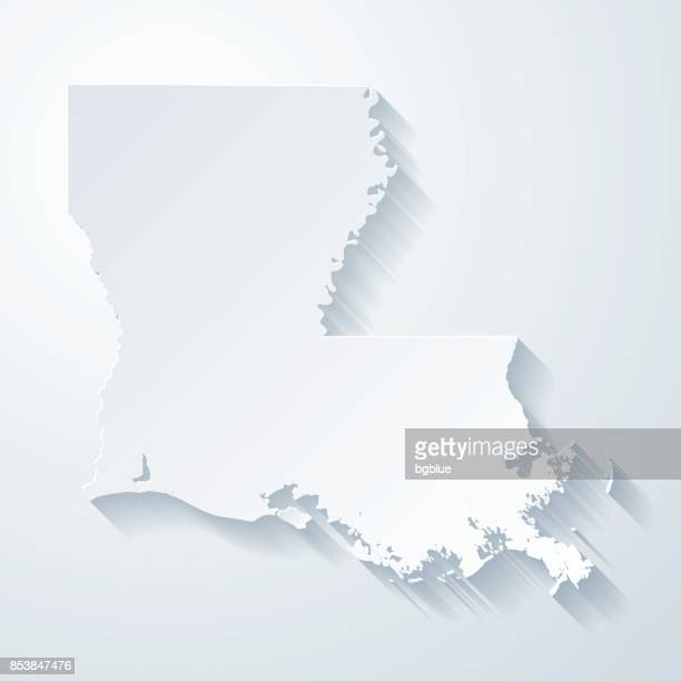 louisiana map with paper cut effect on blank background - louisiana stock illustrations, clip art, cartoons, & icons