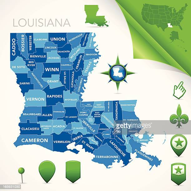 louisiana parish map - human settlement stock illustrations