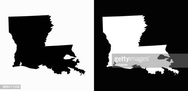 louisiana state black and white simple map - louisiana stock illustrations, clip art, cartoons, & icons