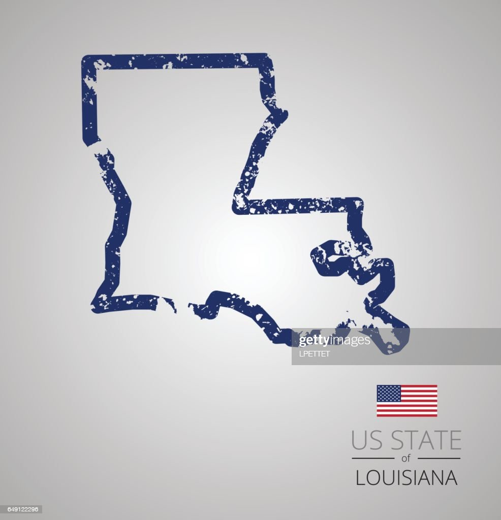 Louisiana State Grunge Outline