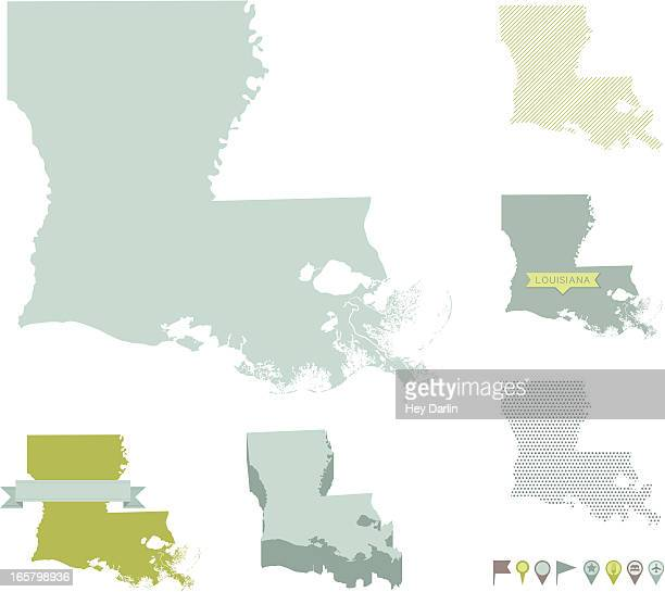 louisiana state maps - louisiana stock illustrations, clip art, cartoons, & icons