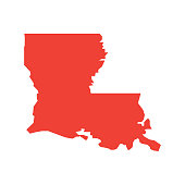 Louisiana vector map silhouette. State of Louisiana map contour isolated.