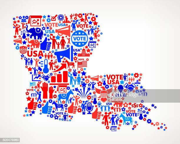 Louisiana Vote and Elections USA Patriotic Icon Pattern