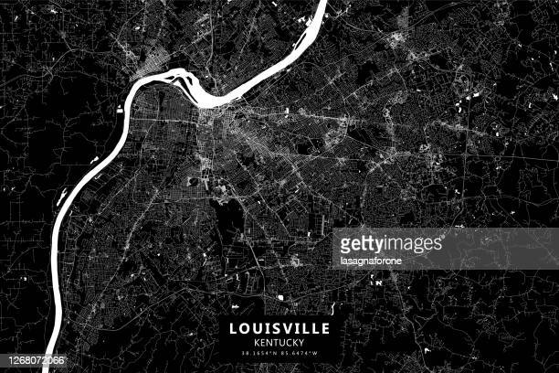 louisville, kentucky, usa vector map - muhammad ali center stock illustrations