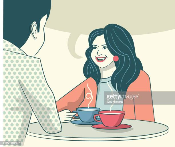 lounge bar cafeteria chat - taza de café stock illustrations