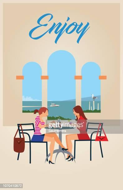 illustrations, cliparts, dessins animés et icônes de lounge bar cafétéria - terrasse de café