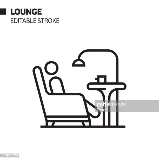 lounge line icon, outline vector symbol illustration. pixel perfect, editable stroke. - relaxation stock illustrations