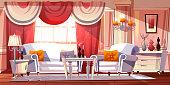 Lounge room luxury interior vector illustration
