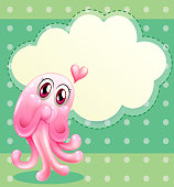 lovable pink monster with an empty cloud template