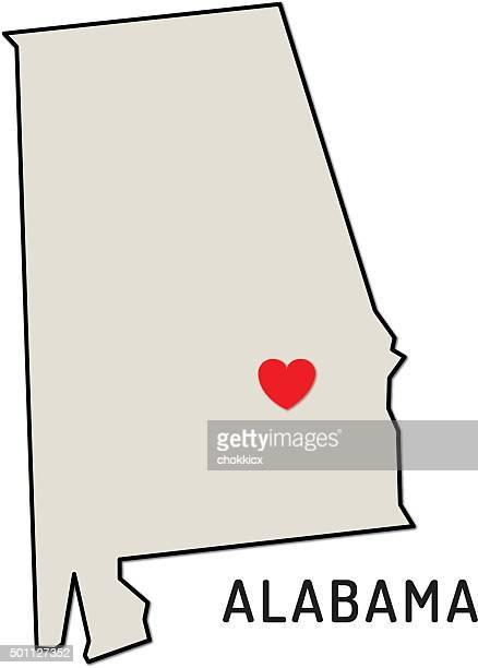 love alabama state - alabama us state stock illustrations, clip art, cartoons, & icons