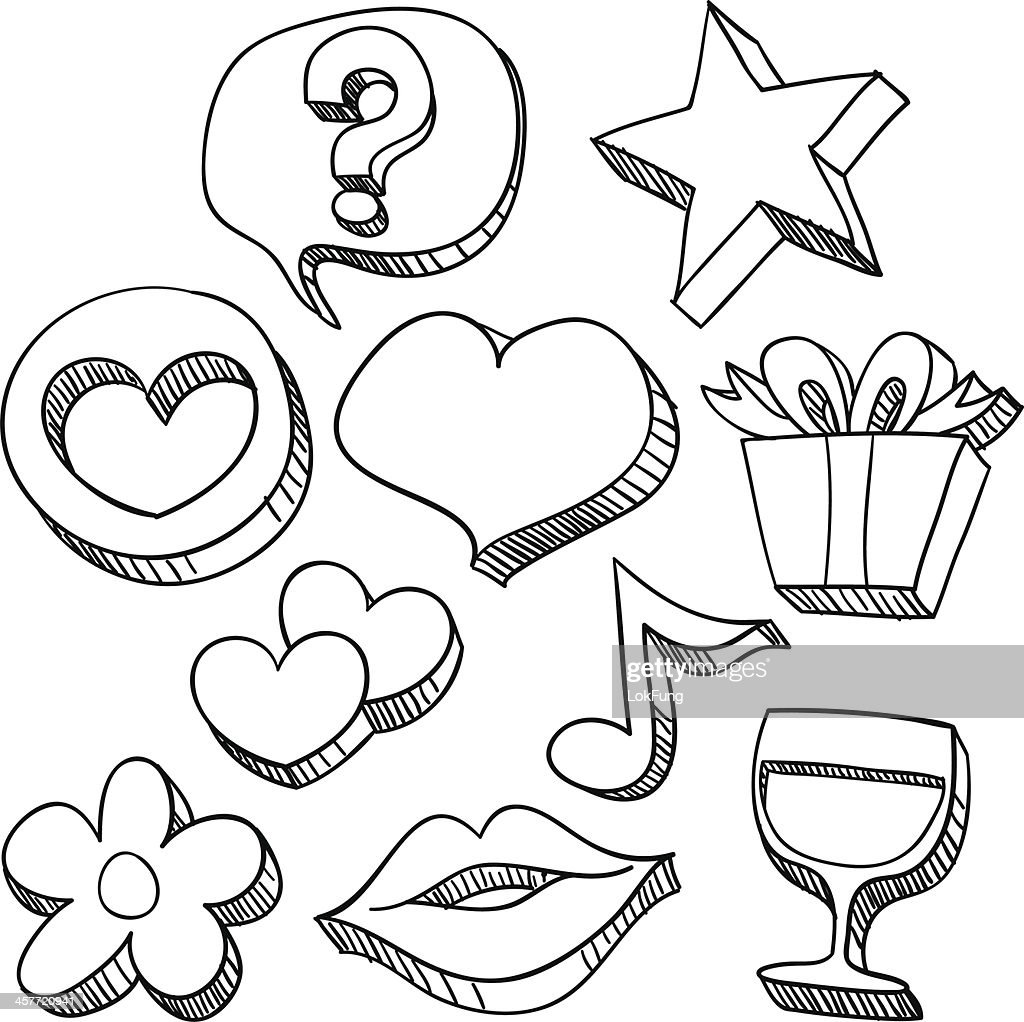 Love and care icons in black & white