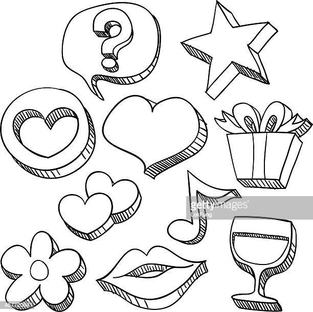 love and care icons in black & white - lipstick kiss stock illustrations, clip art, cartoons, & icons