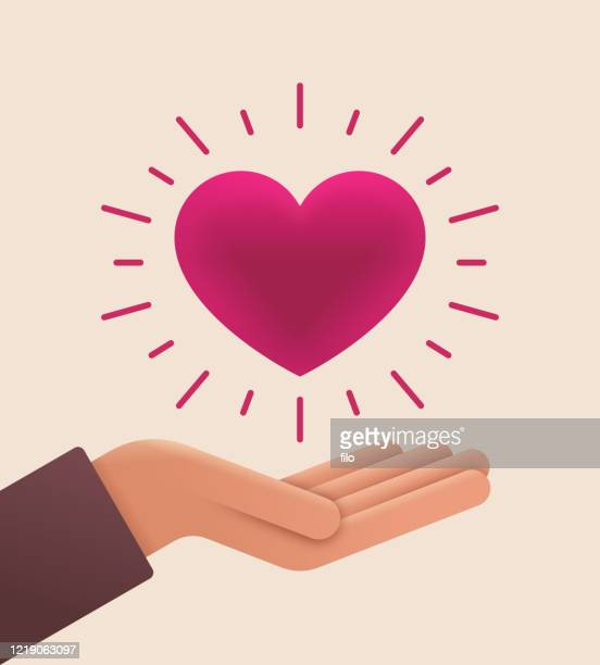 liebe und pflege offene palmhand - freiwilliger stock-grafiken, -clipart, -cartoons und -symbole