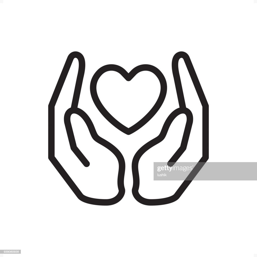 Love and Care - Outline Icon - Pixel Perfect : Stock Illustration