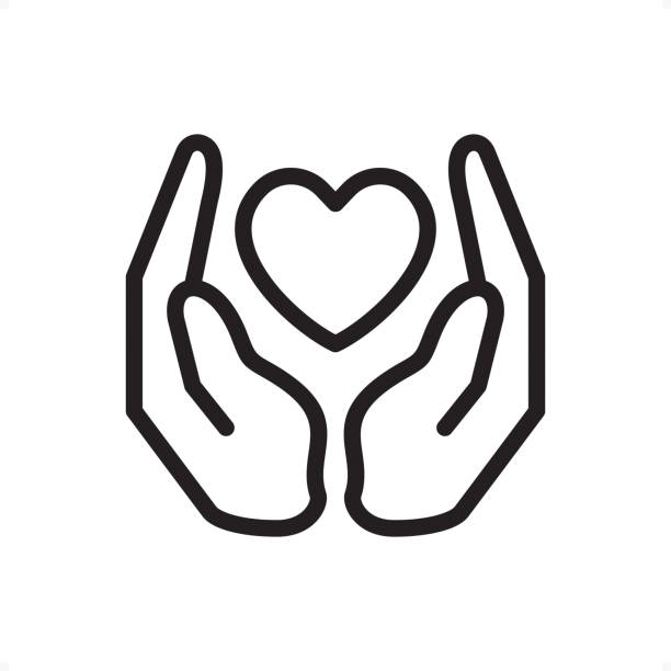 love and care - outline icon - pixel perfect - heart shape stock illustrations