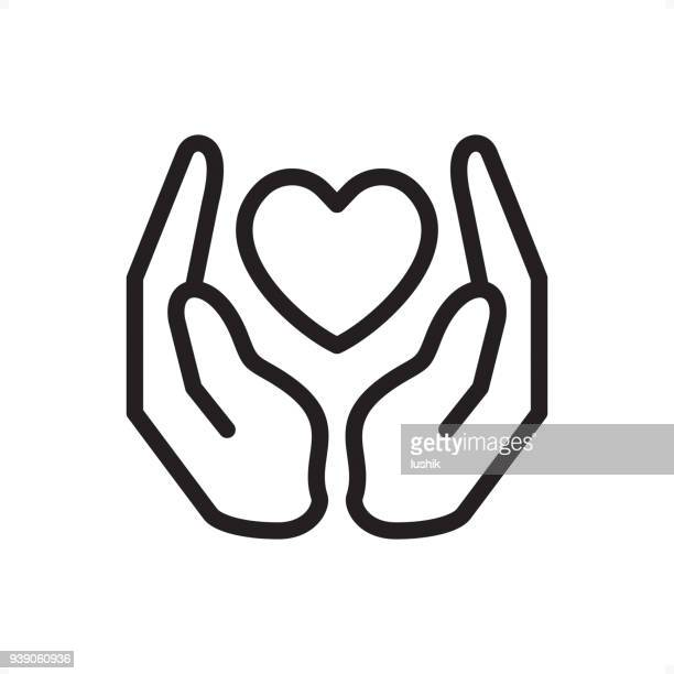 love and care - outline icon - pixel perfect - hand stock illustrations