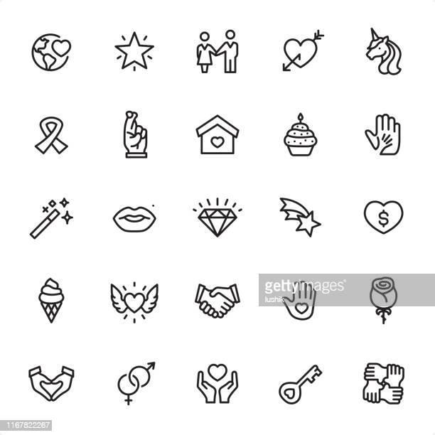 ilustraciones, imágenes clip art, dibujos animados e iconos de stock de amor y caridad - conjunto de iconos de esquema - compromiso