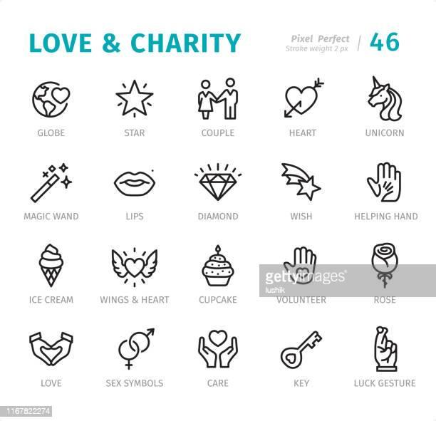 愛と慈善 - キャプション付きピクセルパーフェクトラインアイコン - 社会で使われるシンボルマーク点のイラスト素材/クリップアート素材/マンガ素材/アイコン素材