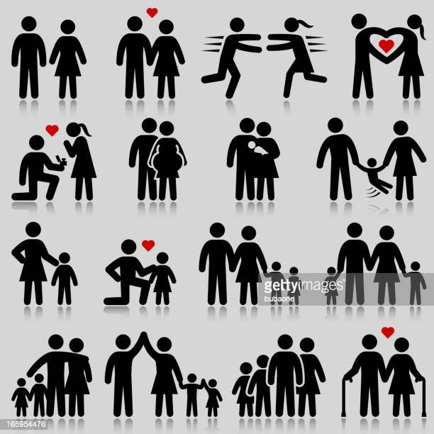Love and family life black & white vector icon set