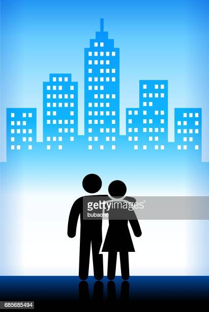 Love and Friendship Blue Vector City Background