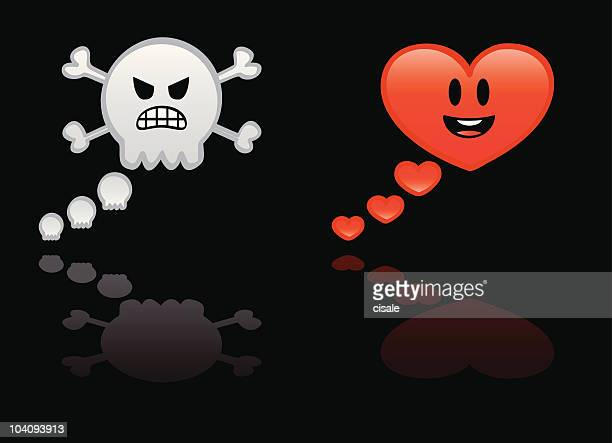 love and hate bubbles - furious stock illustrations