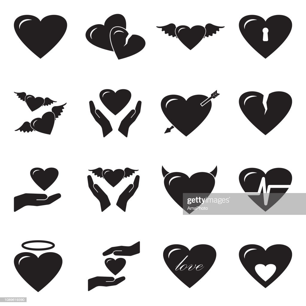 Love And Hearts Icons. Black Flat Design. Vector Illustration.