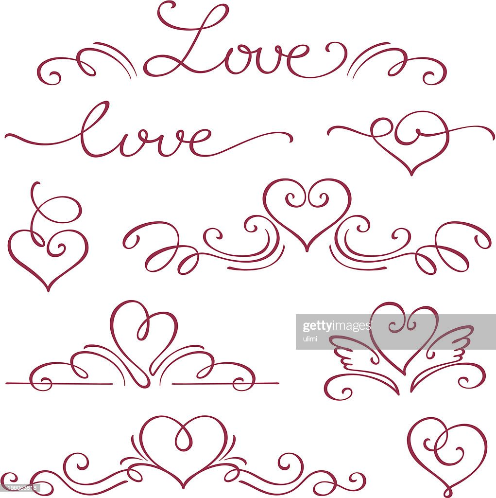 Love and hearts in a calligraphy style in red ink