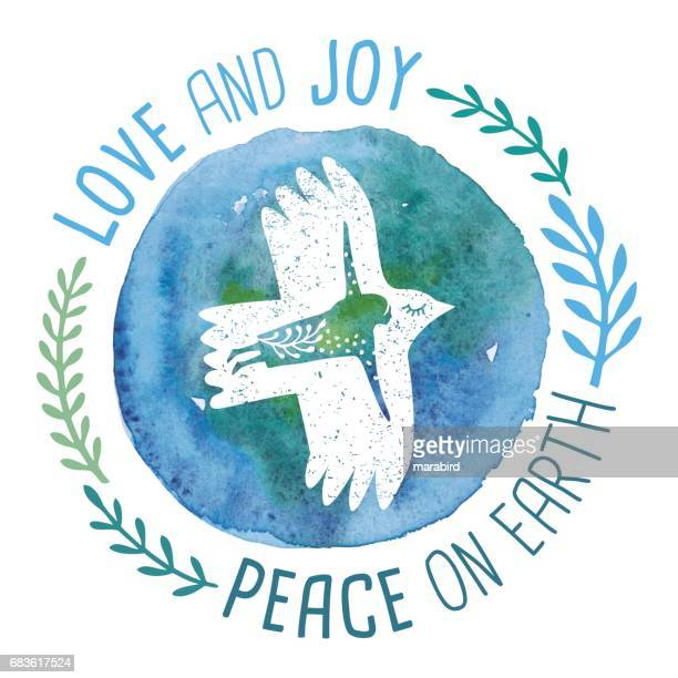 love and joy peace on earth - symbols of peace stock illustrations