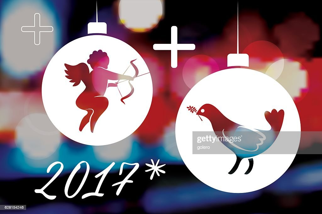 Love And Peace Symbols With 2017 On Vibrant Blurred Background