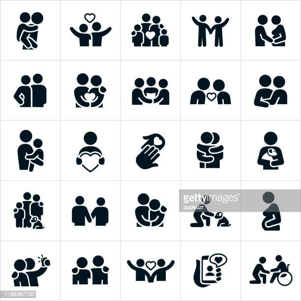 love and relationships icons - bonding stock illustrations