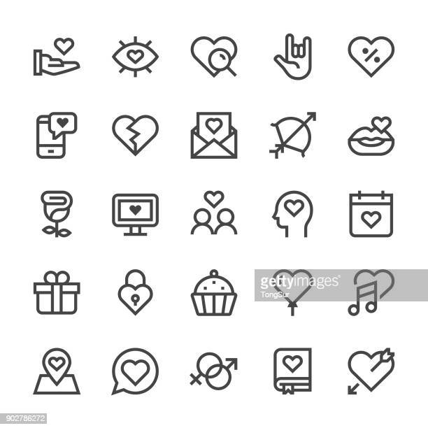love and valentine's day icons - mediumx line - calendar date stock illustrations