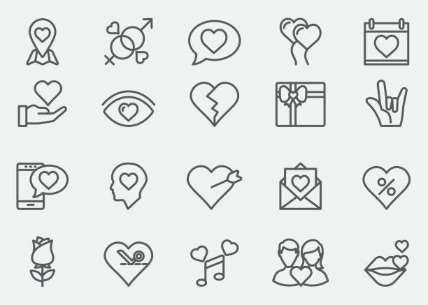 love and valentine's day line icons | eps 10 - lips stock illustrations