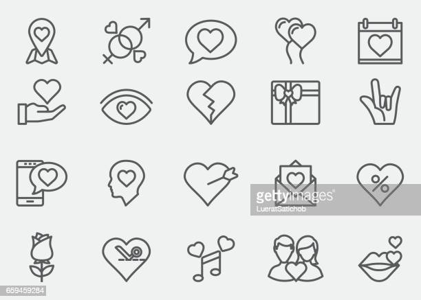 love and valentine's day line icons | eps 10 - flirting stock illustrations, clip art, cartoons, & icons