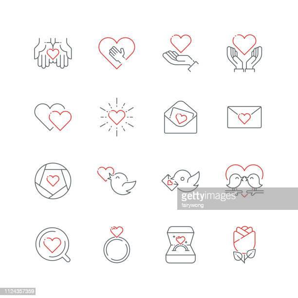 ilustraciones, imágenes clip art, dibujos animados e iconos de stock de amor y día de san valentín iconos de línea - carta de amor